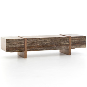 Mila Reclaimed Peroba Wood Long Storage Coffee Table