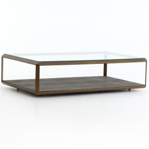 Hollywood Shagreen Shadow Box Glass Coffee Table - Brass