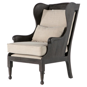 Loni French Country Exposed Oak Wing Chair