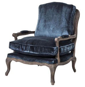Boutique French Bergere Blue Velvet Accent Chair