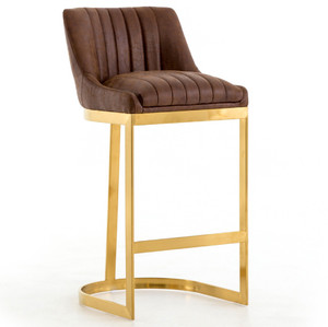 Rory Tobacco Leather + Gold Bar Stool