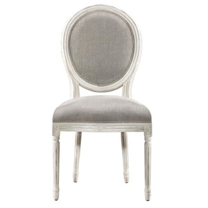 Louis Vintage White Oak Round Dining Side Chair- Linen