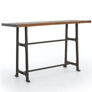 """Alistair Industrial Iron Reclaimed Wood Top Pub Table 71"""""""