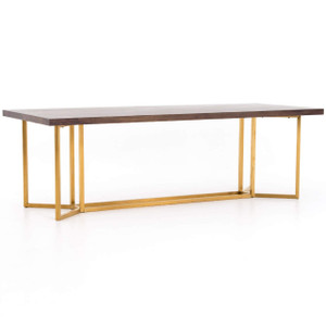 Bryant Polished Brass Leg + Walnut  Wood Dining Table 95""