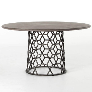 "Arden Concrete Top Metal Pedestal Round Dining Table 54"""