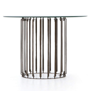 Caged Industrial Glass Top Round Dining Table 42""