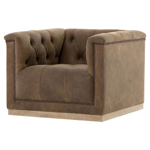 Maxx Umber Brown Leather Tufted Modern Swivel Club Chair
