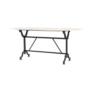 French Industrial White Marble Dining Table 72""
