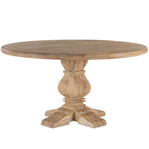 French Farmhouse Trestle Round Dining Table 54""