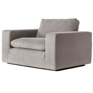 Plume Upholstered Block Arm Pewter Grey Chair and Half