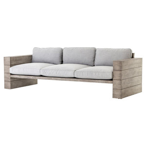 Leroy Cushioned Grey Teak Wood Outdoor Sofa