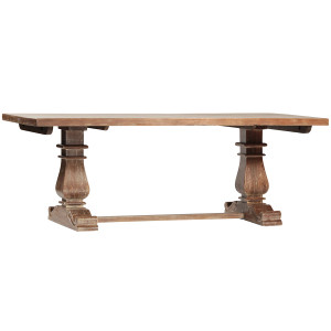 """Lenny Rustic Solid Wood Trestle Extension Dining Table 120"""""""
