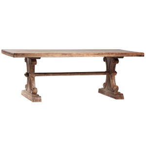 Italian Farmhouse Solid Wood Trestle Extension Dining Table 120""