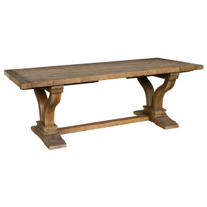"Spanish Farmhouse Reclaimed Wood Trestle Extension Table 110"""