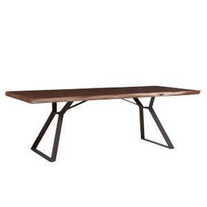 "Brooklyn Loft Live Edge Solid Wood Iron Leg Dining Table 92"""
