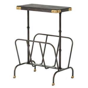 Bosco Ebony Leather and Iron Magazine Rack