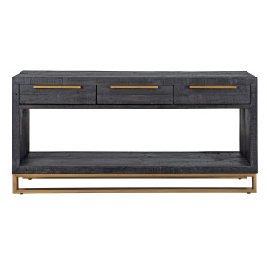 Elle Brass Leg Reclaimed Wood 3 Drawers Console Table