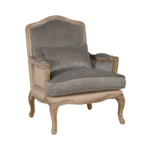 Deconstructed French Bergere Velvet Chair