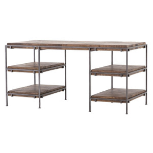 Simien Iron Frame + Slab Wood Shelf Office Desk 60""