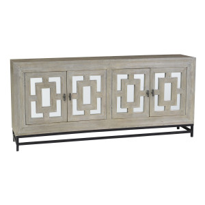 Marabella 4 Door Mirrored Wood Buffet Sideboard