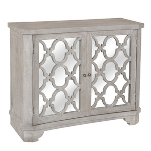 Lattice Whitewash 2 Door Mirrored Wood Small Sideboard