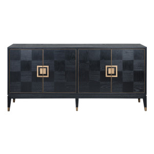 Art Deco Black Oak Wood Sideboard with Brass
