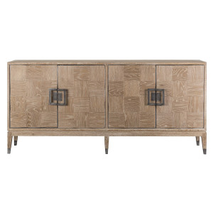 Art Deco Natural Oak Wood Sideboard with Brass
