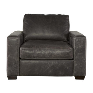 Oliver Wolf Grey Leather Accent Chair