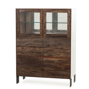 Cardosa Reclaimed Wood + White Lacquer Bar Cabinet