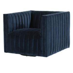 Augustine Channel Tufted Navy Velvet Swivel Chair