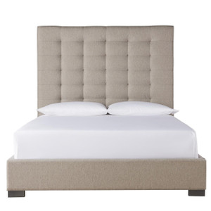 Camille Panel Box-Tufted Grey Fabric Upholstered King Bed