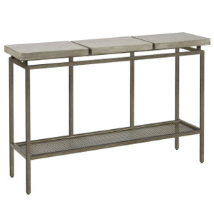 Garrison Concrete Top Bronze Base Console Table 48""