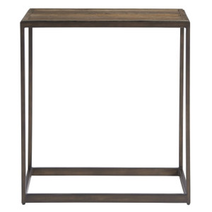 Langston Metal + Rustic Elm Wood Side Table