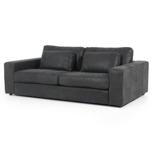 """Bloor Black Leather Square Arm Sofa 82"""""""