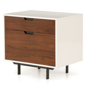 Mid-Century Modern White Lacquer Filing Cabinet