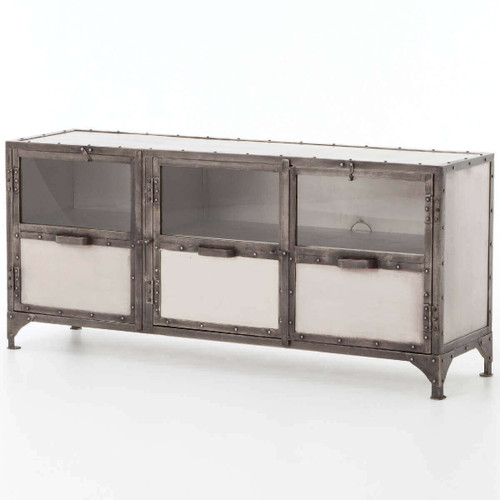 Element Industrial Iron Media Cabinet -Nickel