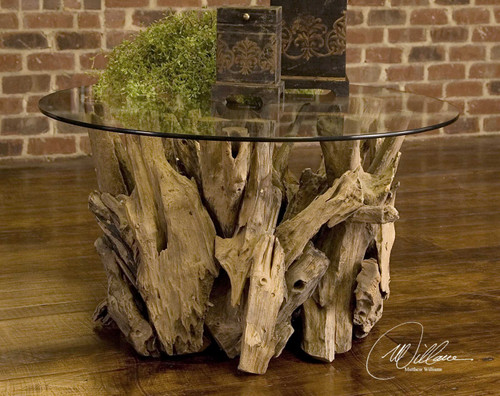 Driftwood Glass Top Round Cocktail Table ...