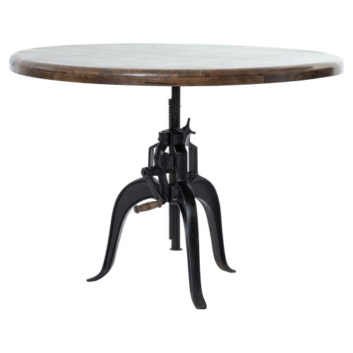 Fergie Industrial Loft Cast Iron Wood Crank Dining Table
