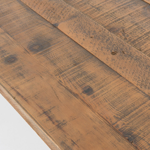 Natural Rustic Reclaimed Wood Trestle Dining Table Zin Home - Reclaimed oak table top