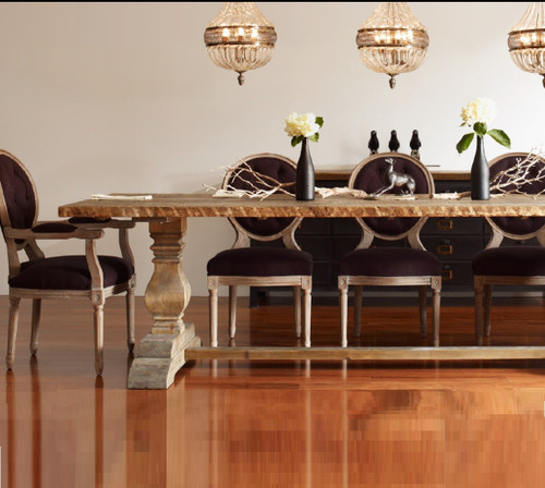 Natural Rustic Reclaimed Wood Trestle Dining Table 87\