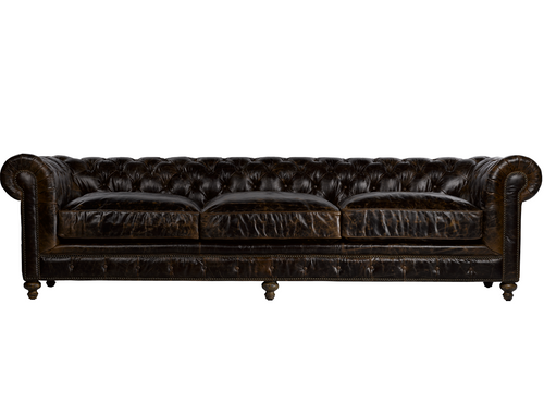 118 Cigar Club Leather Upholstered Chesterfield Sofa