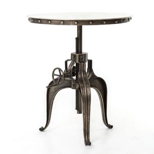 """Element Industrial Metal Bistro Crank Table 30"""" - Nickel"""