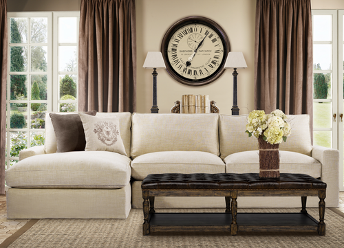 Incroyable ... Casual Beige Belgian Linen Upholstered Sectional Sofa ...