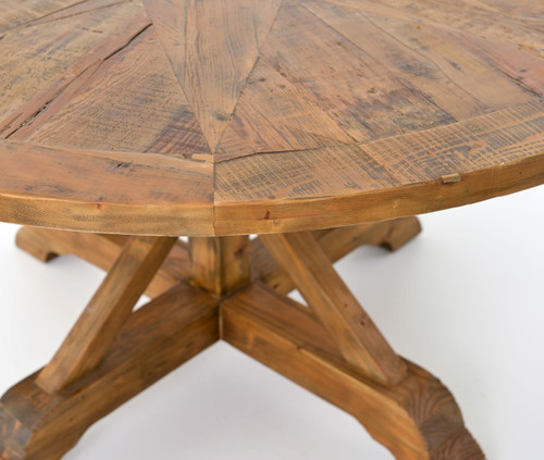 Big Round Reclaimed Wood Coffee Table 2 Sizes: Opio Reclaimed Wood Round Dining Table 60""