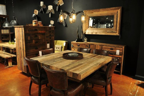 Superieur ... Modern Rustic Angora Reclaimed Wood Square Dining Room Table ...