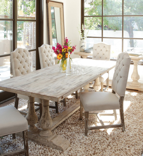 ... Chateau Reclaimed Wood Double Trestle Dining Table  Antique White ...