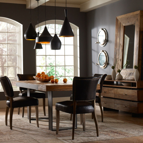 ... Mimi Saddle Black Leather Dining Room Chairs ...