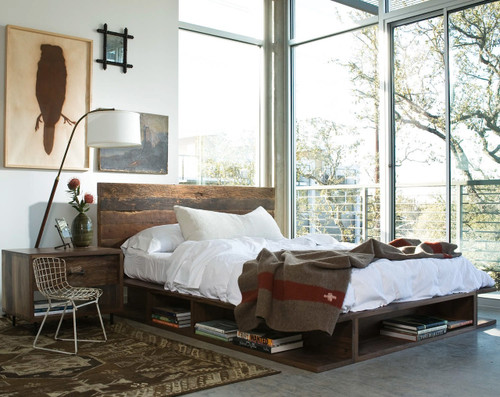 ... Bina Bonnie King Bed- Rustic Reclaimed Wood Platform Bed Frame ... : reclaimed wood canopy bed - memphite.com