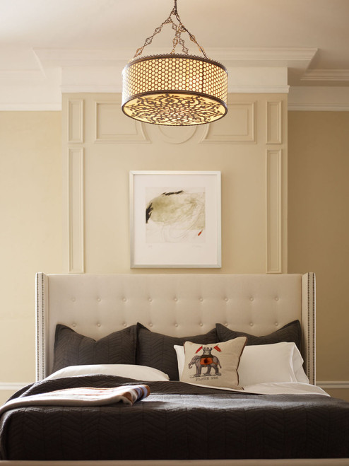 ... Modern Classic Cream Linen Wingback King Bed ...