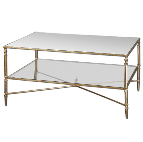 Gold Leaf Coffee Table · Mirrored Glass Rectangular Coffee Tables